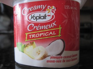 Yoplait's pineapple-coconut-banana yogurt